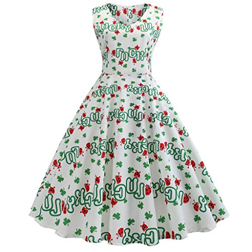 - TOTOD Dress for Women, Fashion Women's Vintage Clover Print Minidress St. Patrick's Day Outfits Party Costume