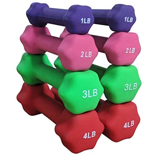 Titan Neoprene Light Weight Dumbbell Set - 1, 2, 3, 4 LB