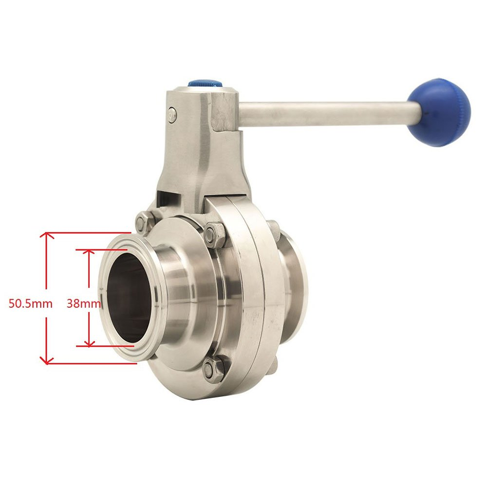 QiiMii Sanitary Stainless Steel 304 Tri Clamp Butterfly Valve with Pull Handle and Silicone 2 Tube OD