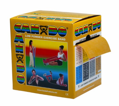 CanDo Low Powder Exercise Band, 50 yard roll, Gold: XXX-Heavy by Cando