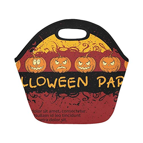 Insulated Neoprene Lunch Bag Halloween Invitation Card Design Template Large Size Reusable Thermal Thick Lunch Tote Bags For Lunch Boxes For Outdoors,work, Office, School