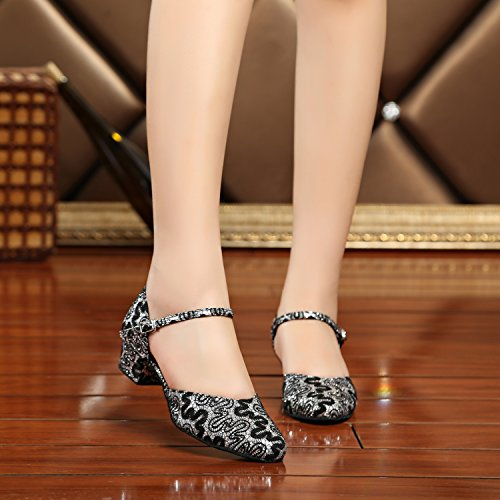 5 TH160 Silver Shoes Strap Ballroom UK Latin Pumps MINITOO Single Toe Taogo Satin Wedding 6 Black Dance Ladies Round Tgppx5wqC