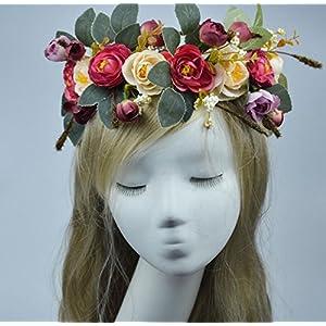 YChoice Unique Party Decorations Bohemian Artificial Camellia Wreath Bride or Bridesmaid Headband_Beige+Red 106