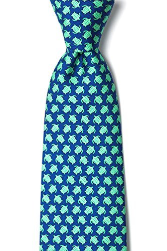 Micro Sea Turtles Navy Blue Silk Tie