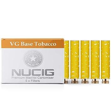 5 x NATURAL/STANDARD NUCIG 0MG Tobacco Flavour Refill cartomiser Filter |  ***VG Premium | for e shisha e hookah e cigarette electronic cigarette ego