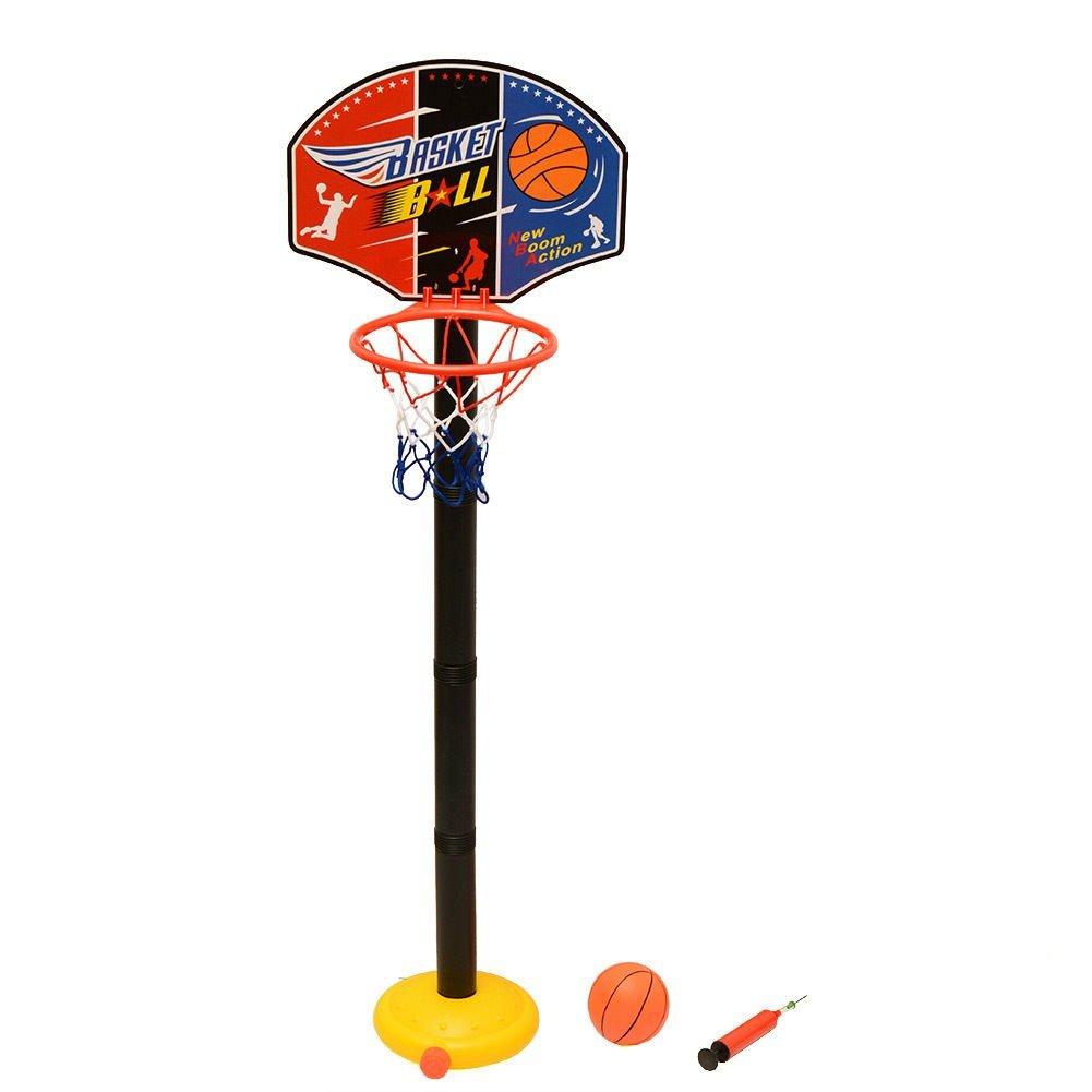 TakeStop® Panier de basket 115cm + ballon de basket, avec filet, basket-ball pour enfant sportif, jouet avec base réglable MOON 1001877