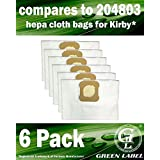 6 Pack for Kirby Universal Hepa Cloth Bags for All Generation & Sentria Models (compares to 204803). Genuine Green Label Product