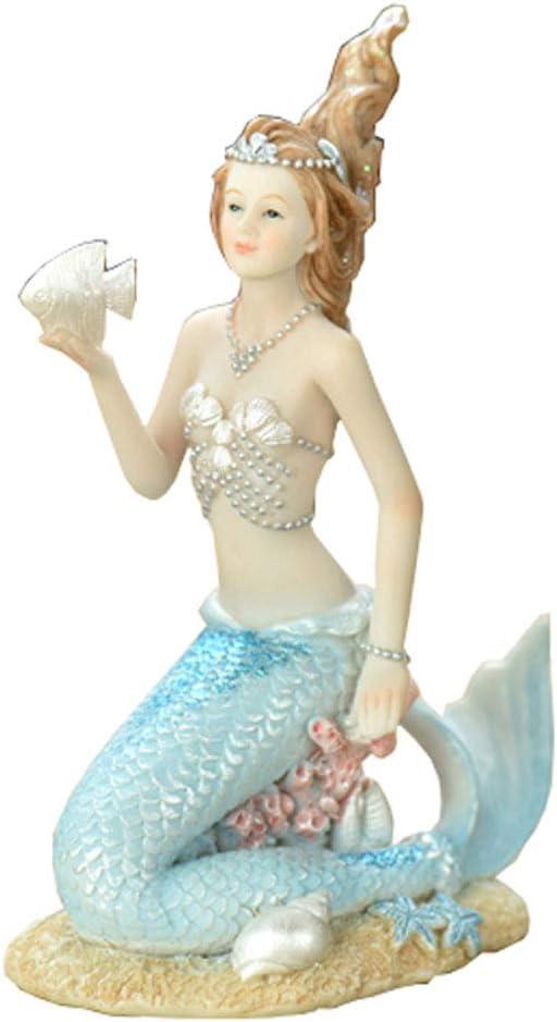 D/écor dart de Collection et id/ées Cadeaux-sir/ène A Figurine de sir/ène de r/ésine /écologique d/écoration de Bureau /à Domicile Sungmor Elegant Blue Mermaid Statue Maison Ornements