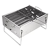 Looimage Small Outdoor Barbecue Grill Home Charcoal Portable Folding Charcoal BBQ Grill