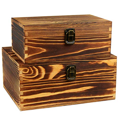 - Wooden Keepsake Boxes Wood Stash Box for Jewelry Watch Trinkets Treasure Chest Storage Hobby Cash Pill Gifts File Cards Photos Cigar Case Rustic Decorative Organizer With Latch Lids Fired Color 2 Set