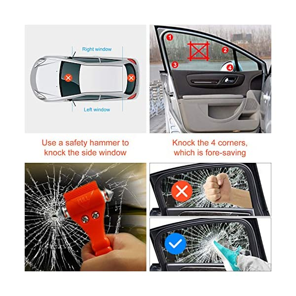Martillo de Seguridad para Automóviles 2 en 1 Herramienta de Escape de Emergencia con Romper la Ventana de Coche y Cortador de Cinturón de Seguridad para Autobús Tren para Salvar la Vida 2 Piezas 5