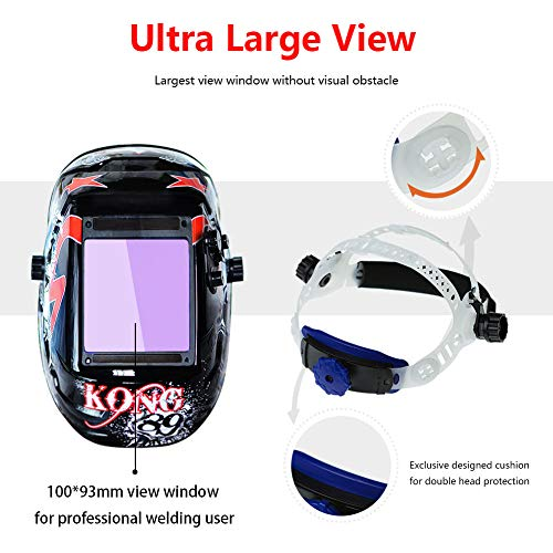 Tekware Welding Helmet 4C Lens Technology Solar Power Auto Darkening Hood True Color LCD Welder Mask Ultra Large Viewing Area Breathable Grinding Helmets with Adjustable Shade Range by Tekware (Image #4)