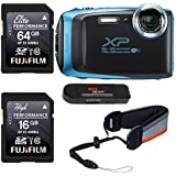 FUJIFILM FinePix XP130 - Skyblue, Fujifilm 64GB and 16GB SD Memory Cards and Fujifilm Rugged Float Strap Bundle