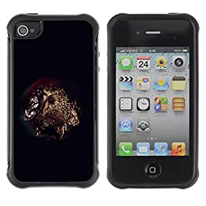 Paccase / Suave TPU GEL Caso Carcasa de Protección Funda para - Bear Attack - Apple Iphone 4 / 4S