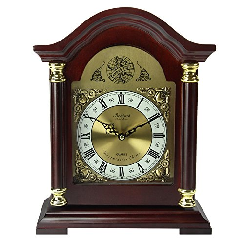 (Bedford Clock Collection Redwood Mantel Clock with)