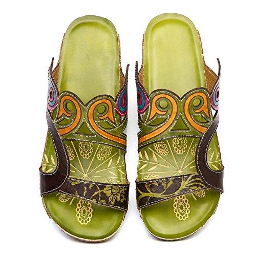 Resbalón Bohemia Ocasionales Talón Los Punta Cuña Mujer Sandalias Empalme Flor Playa Zapatillas En Zapatos Zuecos De Cuero Gracosy Mula Verde Verano Mediados C7URwPq