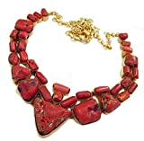 handmade fashion Necklace for women red Coral Gemstone necklace 24k Gold overlay by tibetan silver