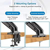 Double Articulating Arms VESA Bracket with C Clamp HUANUO Dual Monitor Stand Height Adjustable Gas Spring Monitor Desk Mount Fits 2 Computer Screens 15 to 27 Inch Bolt-Through Grommet Mounting