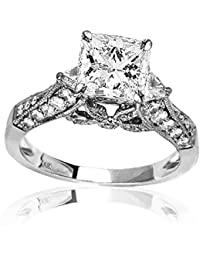 1.38 Carat t.w. GIA Certified Princess Cut 14K White Gold Trillian and Round Diamond Engagment Ring (D-E Color VVS1-VVS2 Clarity)