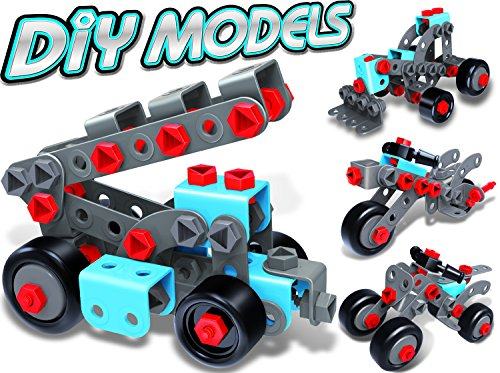 7TECH 233 PCS 4-in-1 Model Building set STEM Educational Construction Engineering Toy with 2 Motorbikes & Cranes and Forklifts for Kids