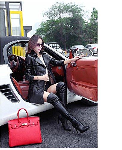 Bigood Cuir Hiver Mode Ceinture Faux Veste Manteau Femme Noir Automne avec OOwAU1q