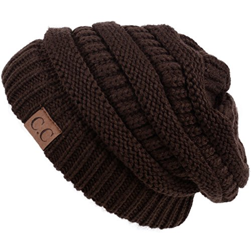 Thick Slouchy Knit Unisex Beanie Cap Hat,One Size,Brown