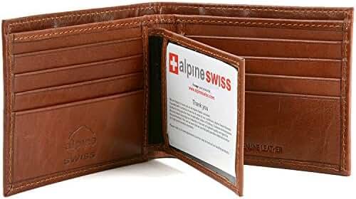 Alpine Swiss Men's RFID Blocking Leather Multi Card High Capacity Bifold Wallet