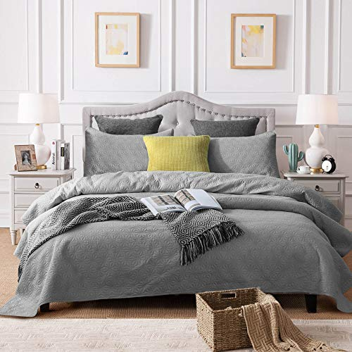 ONETEAR Bedspread Cover+Pillow Shams Pre-wash Microfiber Quilted Coverlet Quilt Set Bedding with Diamond Design-All Season-Protection Non-Slip Dustproof Dog-Proof(Grey, King) (Bedspread Dog)