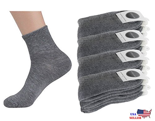 Socks Gray Quarter (Mens Womens Cushion Quarter Crew Ankle Athletic Sports Gray Socks 6 Pairs 12 Pairs (9-11, Gray 6 Pairs))