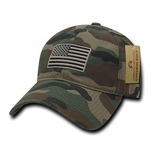 Rapid Dominance American Flag Embroidered Washed Cotton Baseball Cap - Woodland Camo Baseball Caps Woodland Camouflage Cap