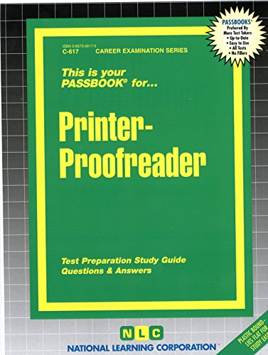 - Printer-Proofreader(Passbooks) (Passbook for Career Opportunities)