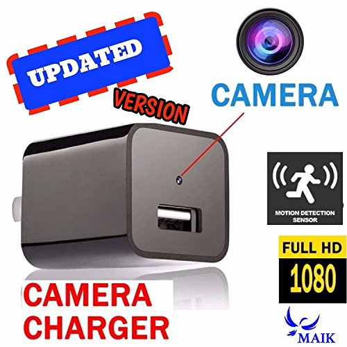 (1Pack-Black) MAIK UBS Hidden Camera Charger | 2in1 Charger & Hidden Camera With Audio | Nanny Cam | Baby & Pet Monitoring Hidden Spy Camera USB | Motion Detection |32GB Included |1080P HD| (Cam Port)