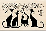 Inkadinkado Cats In Tune Wood Stamp