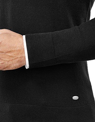 Vincenzo Boretti Herren Pullover - klassischer Strickpullover mit V-Ausschnitt, tailliert/slim-fit,schwarz,S