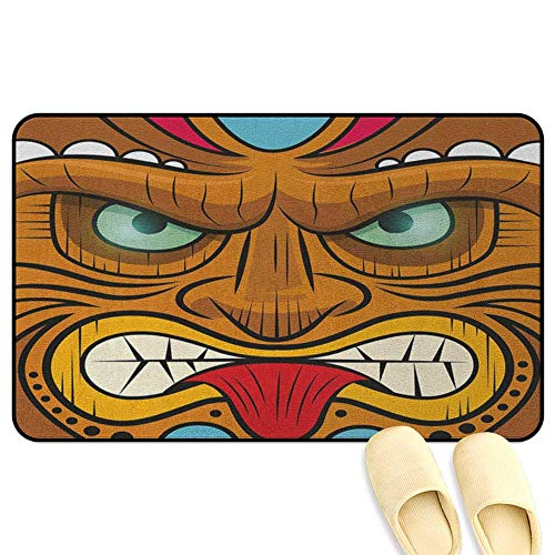 homecoco Tiki Bar Floor Comfort Mat Cartoon Style Angry Looking Tiki Warrior Mask Colorful Icon Totem Culture Print Multicolor Rubber Front Entrance Outside Doormat W24 x L35 INCH