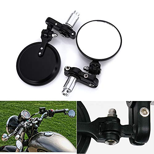 (Universal Bar End Mirrors Motorcycle Handlebar Mirrors 7/8 Handle Round for Aprilia, BMW, Buell, Ducati, Harley Davidson, Honda, Indian, Kawasaki, KTM, Suzuki, Triumph and Yamaha)