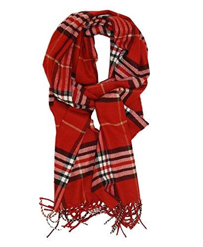 (MINAKOLIFE Classic Cashmere Feel Winter Scarf in Rich Plaids Red)
