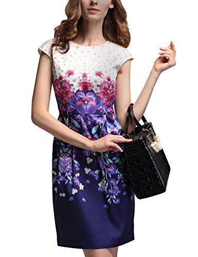 Blumen Weinlese ein Mena Bunte Frauen Kappen Kleid Linie Hülse 16Fxpqxg