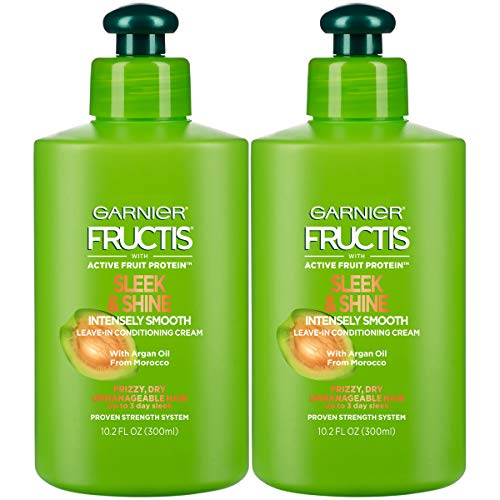 Garnier Fructis Sleek & Shine Intensely Smooth Leave-In Conditioning Cream, 10.2 Ounce (2 Count)