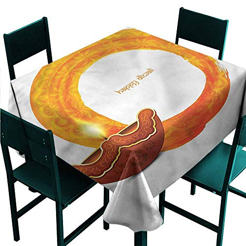 DONEECKL Square Tablecloth Diwali Wavy Frame in Warm Colors Soft and Smooth Surface W50 xL50
