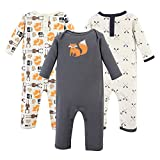 Hudson Baby Baby Cotton Union Suit, 3 Pack, Forest, 12 Months