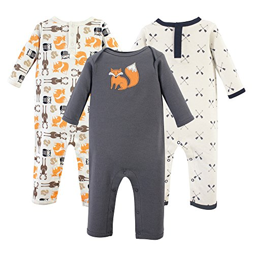 Hudson Baby Baby Cotton Union Suit, 3 Pack, forest, 24 Months