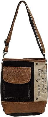 Myra Bags Peace Pocket Upcycled Canvas & Denim Shoulder Bag S-0895