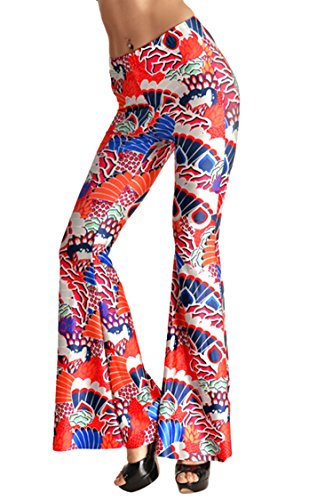 Pink Queen Women's Colorful Print Beach Palazzo Pants Wide Leg Pants