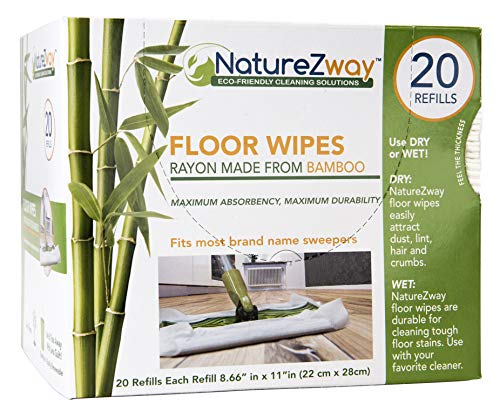 NatureZway Bamboo Floor Wipes|20 Wipes|Natural Bamboo Rayon|Soft and Durable|Works on Wood,Laminate,Tile|Compatible with Most Floor Cleaning Tools|Environmentally Friendly Product|Single