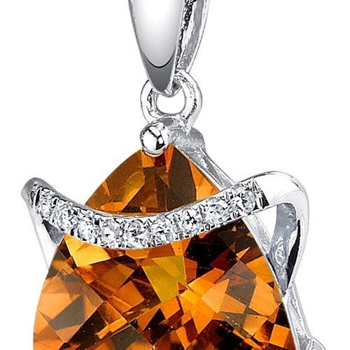 Revoni 14ct or blanc 585/1000 Trillion Coupe 1.86 carats Citrine Pendentif diamant