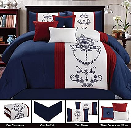 Embroidered Nantucket 7 Piece Bedding Navy Blue Red White Queen Comforter Set With Accent Pillows