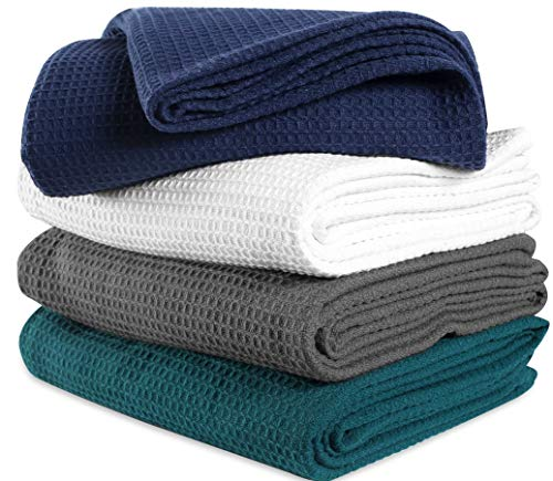 Navy Waffle - 100%Soft Premium Cotton Thermal Blanket in Waffle weave 102x90 King Navy Color,All Season Blanket,Breathable Cotton Thermal Blanket,Light Thermal Blanket,Perfect for Layering Any Bed-Provides Comfort