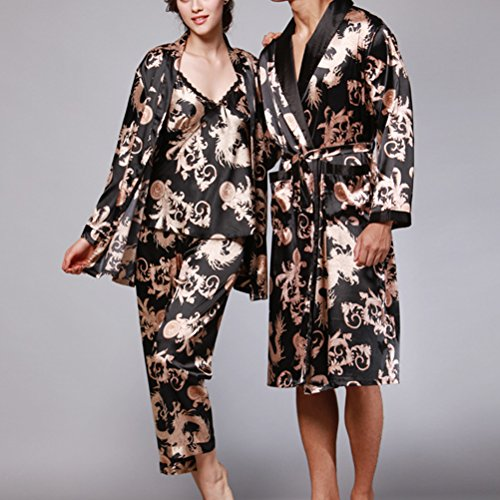 Zhhlaixing Lovers Comfortable Long sleeves Pajamas Nightgown Silk Sleepwear Black&Gold