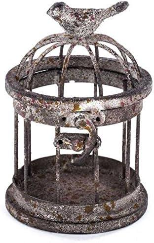 SOBAKEN Rusty Small Iron Bird Cage with Bird on Top